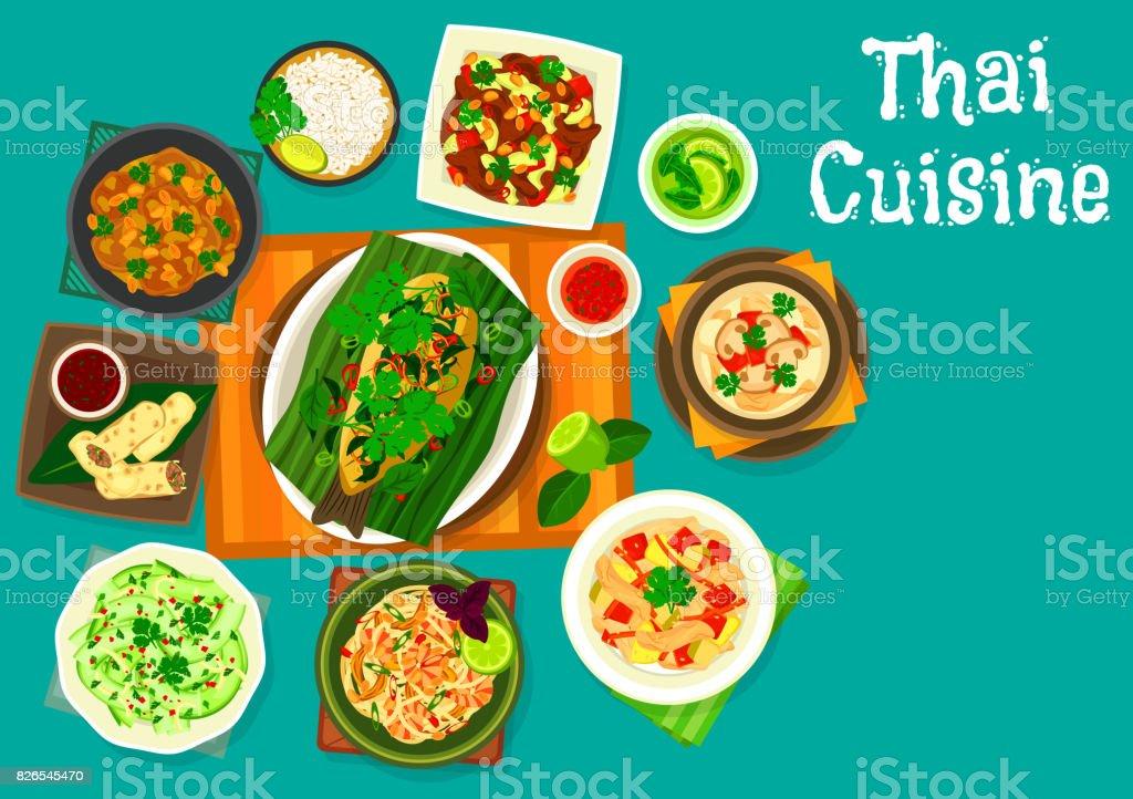 Thaiküche Mittagessen Symbol Für Restaurantmenüdesign Stock Vektor ...
