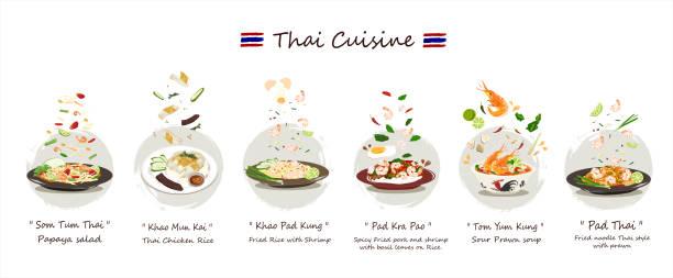 stockillustraties, clipart, cartoons en iconen met thaise keuken set. set van heerlijke thaise voedsel vector geïsoleerd op witte achtergrond. - tafel restaurant top