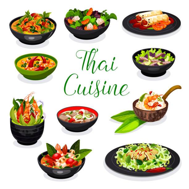 illustrations, cliparts, dessins animés et icônes de soupe de cuisine thaïlandaise, salade et plats de pain de printemps - risotto