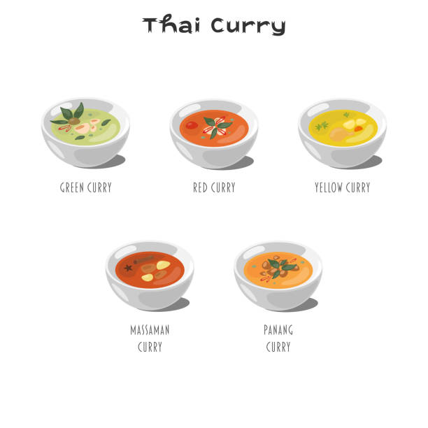 Thai curry set on a white background vector art illustration