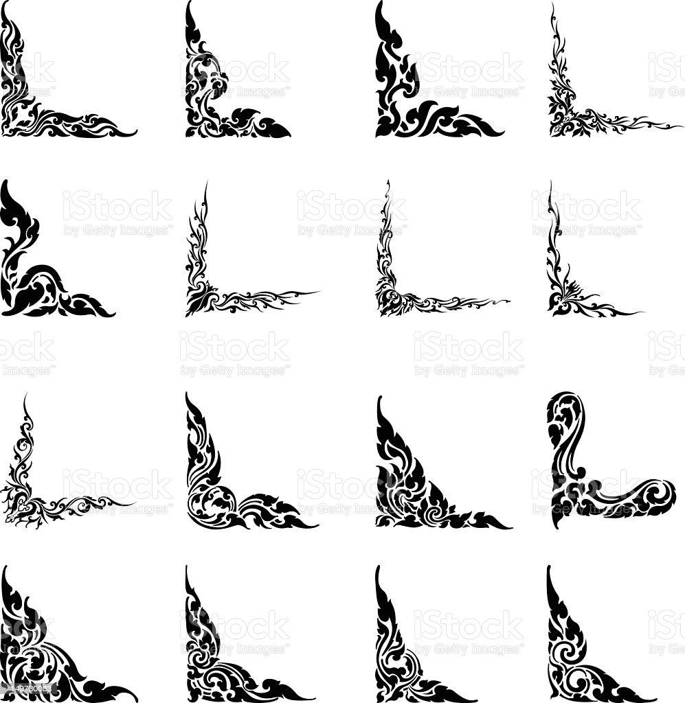 Thai Design Motifs Silhouette | Set 2 vector art illustration