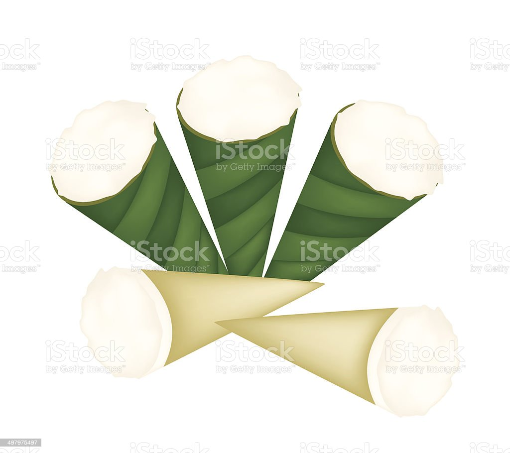 Thai Dessert of Coconut Custard in Banana Leaf Cone royalty-free stock vector art