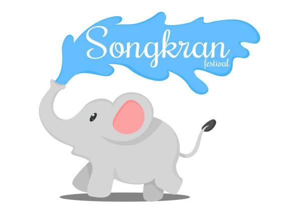 stockillustraties, clipart, cartoons en iconen met thaise olifanten splash in het songkran traditie van thailand. - festival logo baby