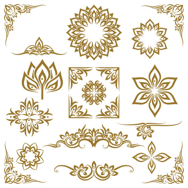thai ethnic decorative elements vector - tribal tattoos stock illustrations, clip art, cartoons, & icons