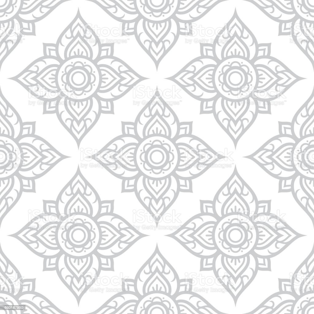 Thai flowers seamless pattern, Asian grey floral design from Thailand vector art illustration