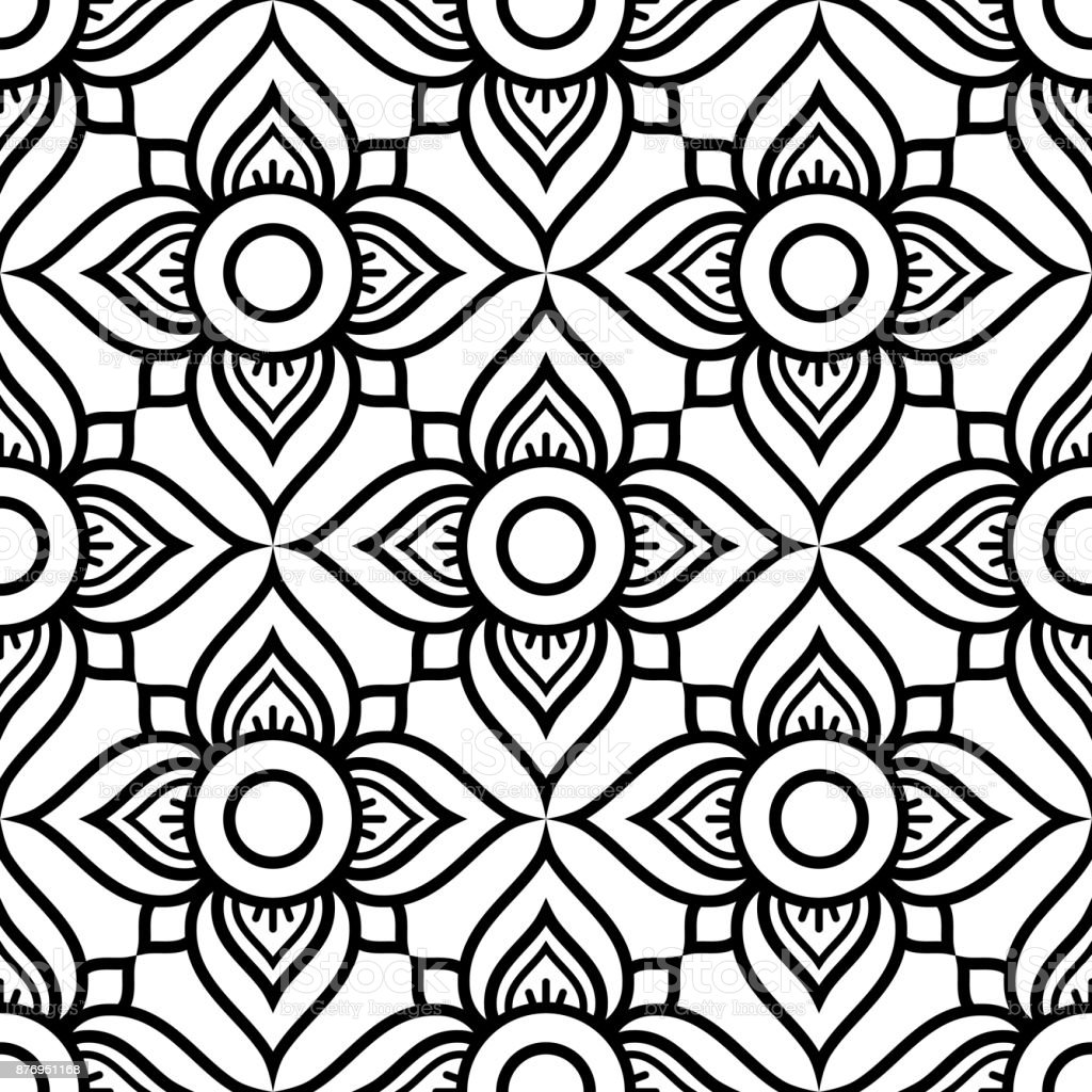 Thai Flowers Seamless Vector Pattern Black Floral Repetitive Design