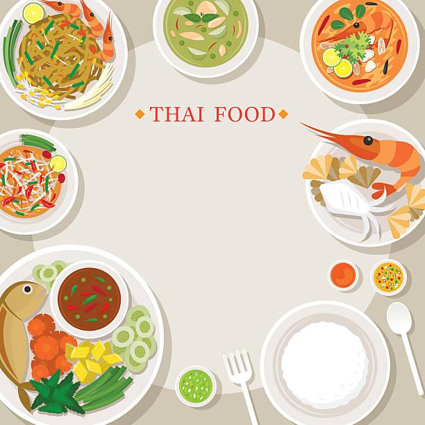 thai food and cuisine frame - thai food stock illustrations, clip art, cartoons, & icons