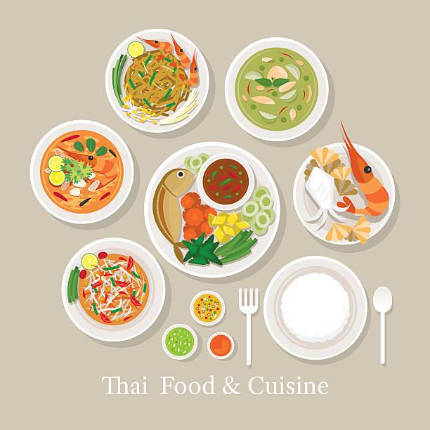 thai food and cuisine set - thai food stock illustrations, clip art, cartoons, & icons