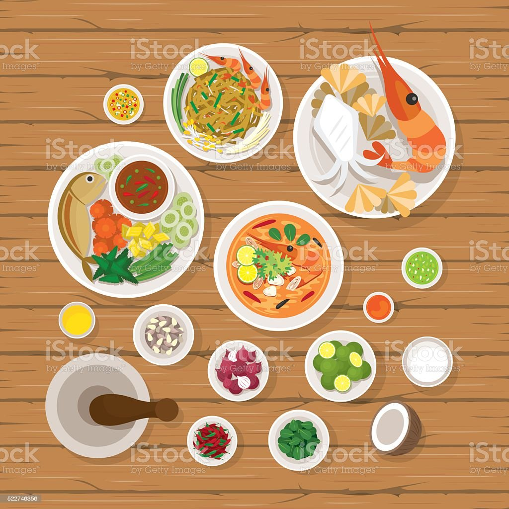 Comida tailandesa e os ingredientes conjunto - ilustração de arte em vetor