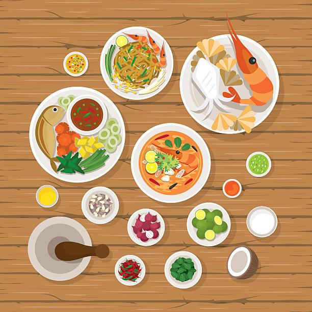 thai food and ingredients set - thai food stock illustrations, clip art, cartoons, & icons