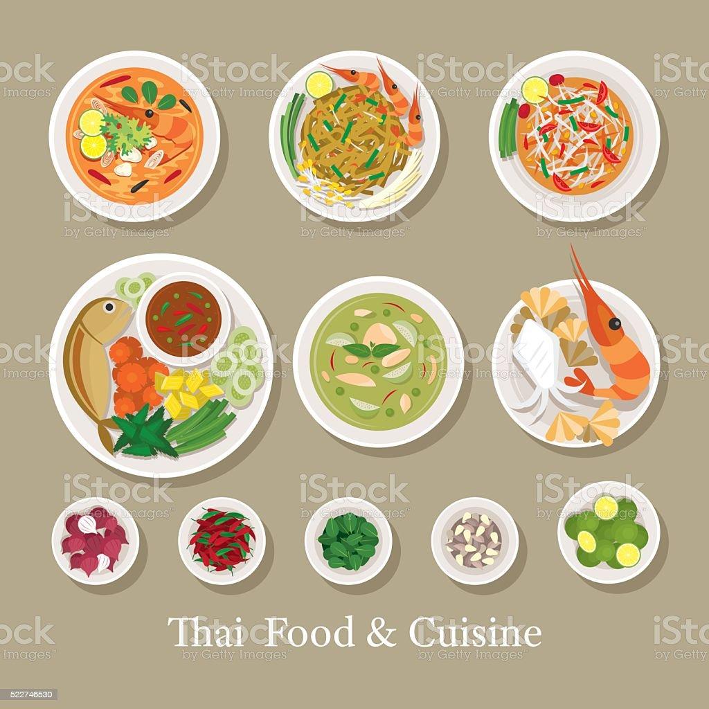Ingredientes de la comida tailandesa y - ilustración de arte vectorial
