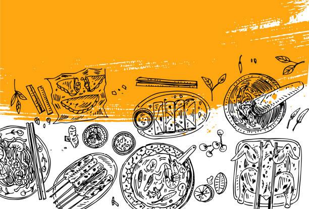 タイ料理のチラシ デザイン。線形のグラフィック。ベクトルの図。刻まれたスタイル。 - カレー点のイラスト素材/クリップアート素材/マンガ素材/アイコン素材
