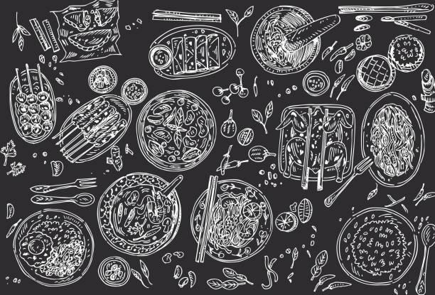 黒い背景にタイ料理チラシ デザイン。線形のグラフィック。ベクトルの図。刻まれたスタイル。 - カレー点のイラスト素材/クリップアート素材/マンガ素材/アイコン素材