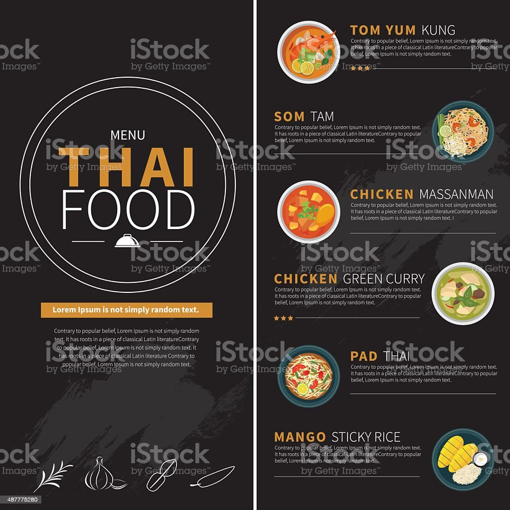 thai-food-Menü – Vektorgrafik