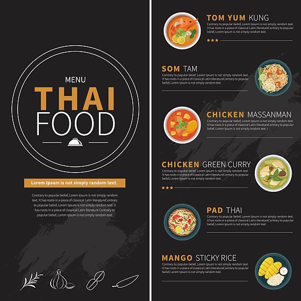 thai food menu - thai food stock illustrations, clip art, cartoons, & icons