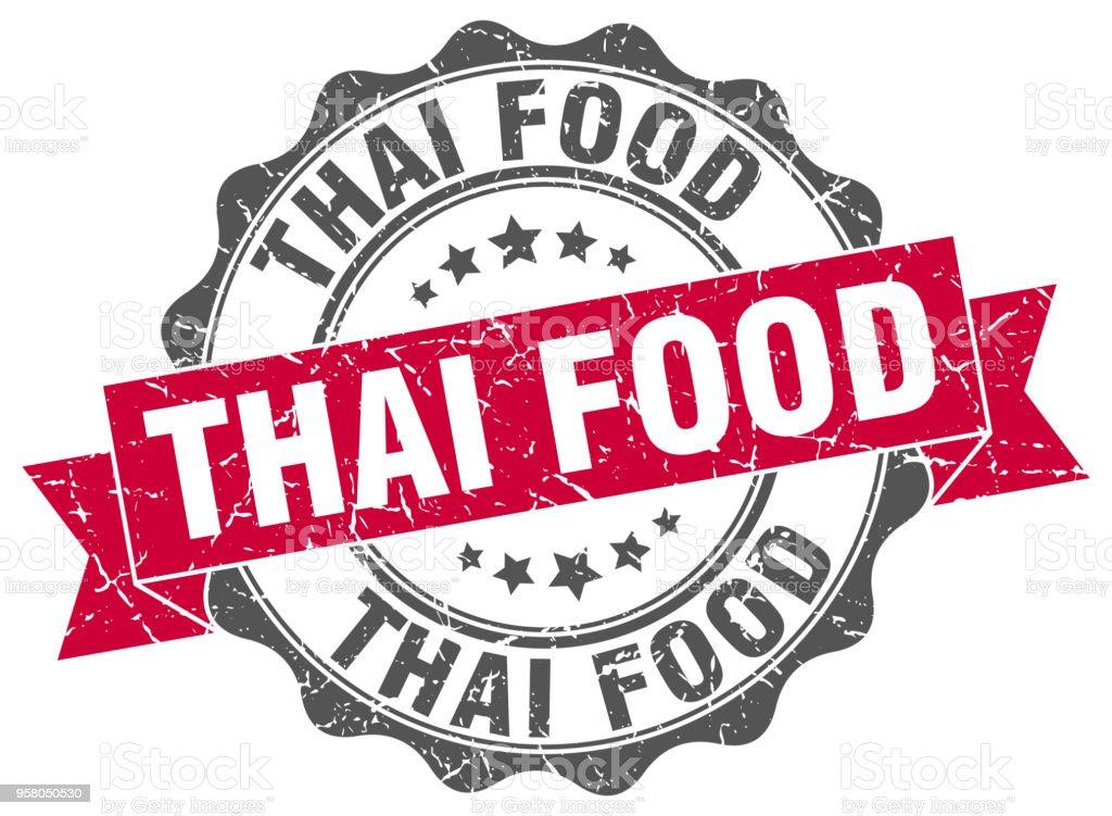 estampillas para comida tailandesa. signo. sello - ilustración de arte vectorial