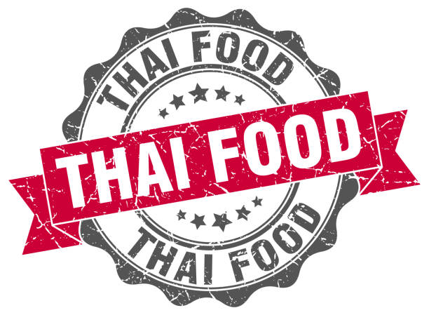 thai food stamp. sign. seal - thai food stock illustrations, clip art, cartoons, & icons