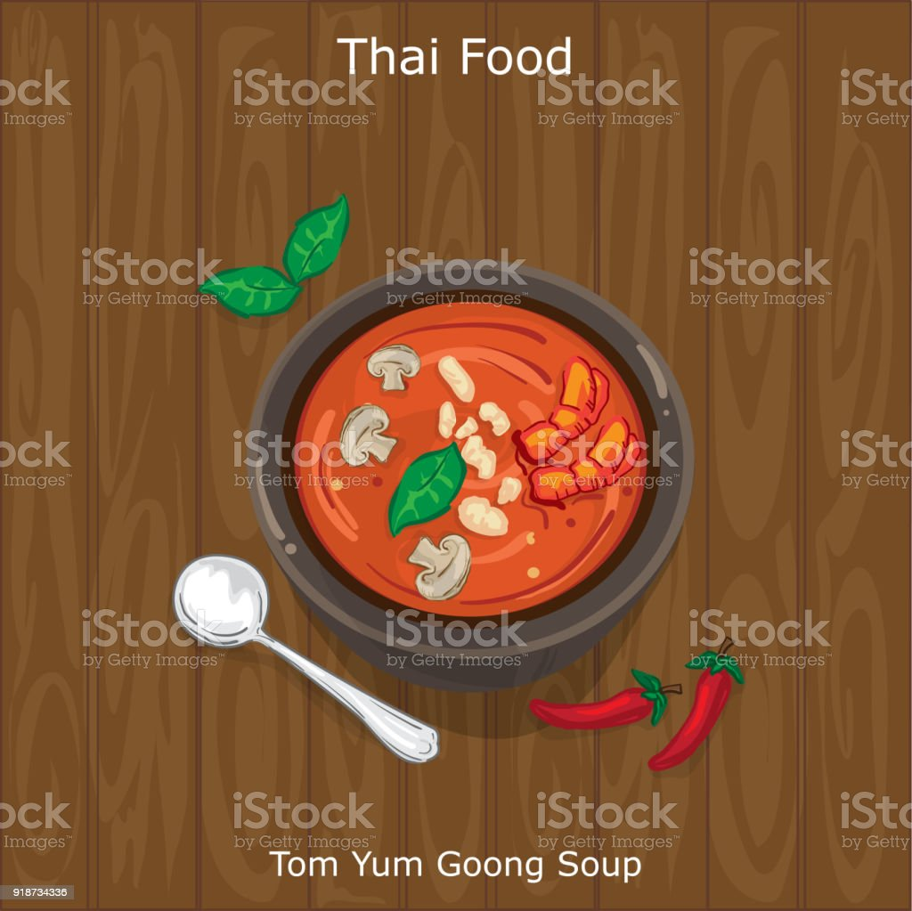 thai food Tom Yum Goong Soup vector art illustration