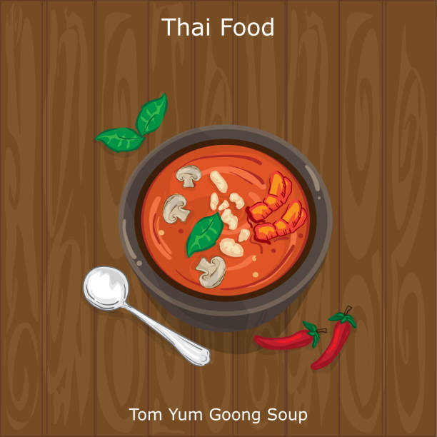 thai food tom yum goong soup - thai food stock illustrations, clip art, cartoons, & icons