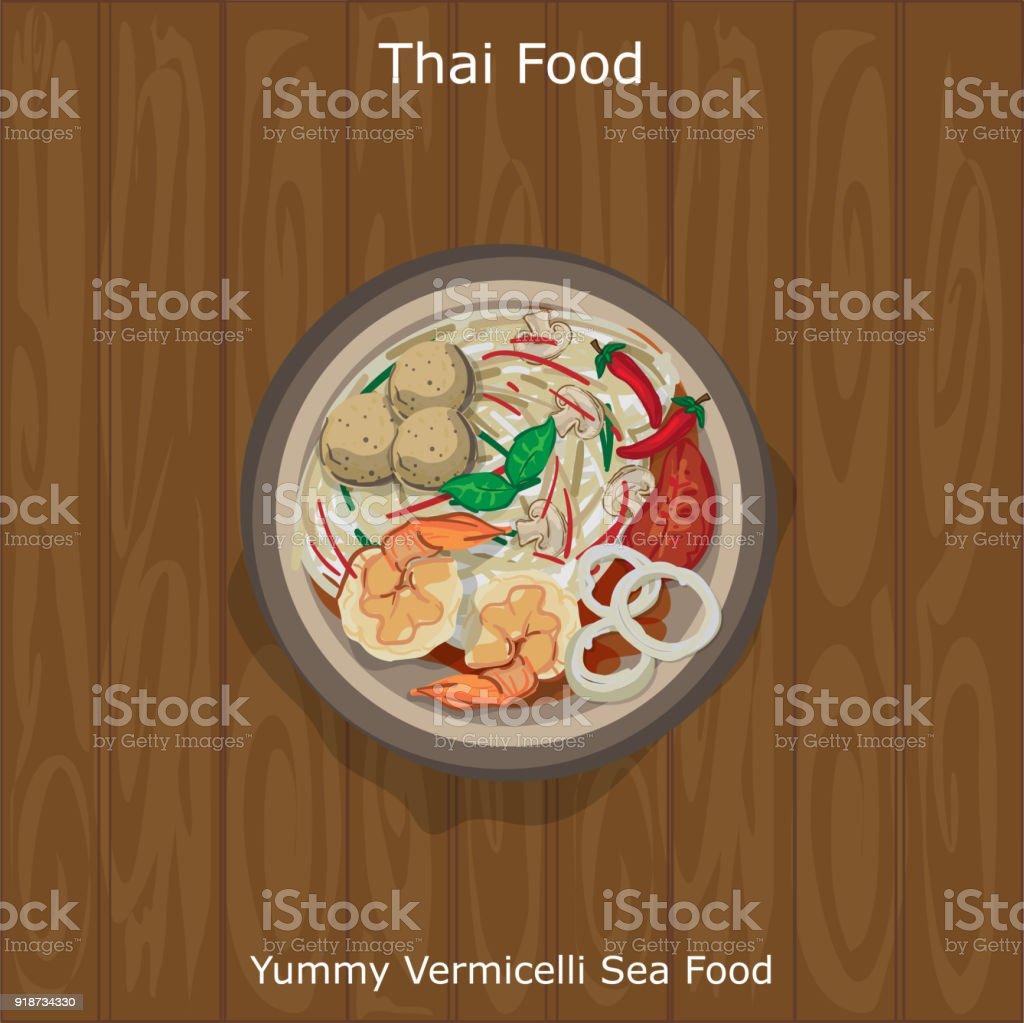 thai food Yummy Vermicelli Sea Food vector art illustration