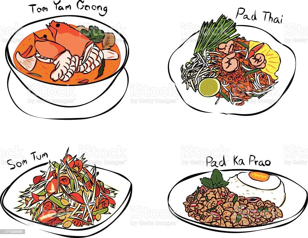 Comida tailandesa - ilustración de arte vectorial