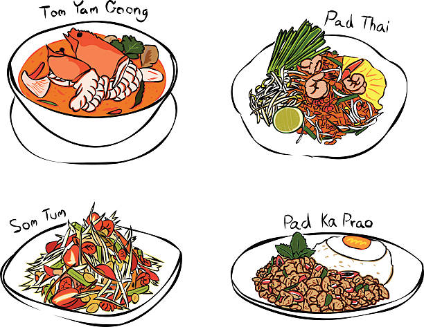 Thai Foods Vector Art Illustration