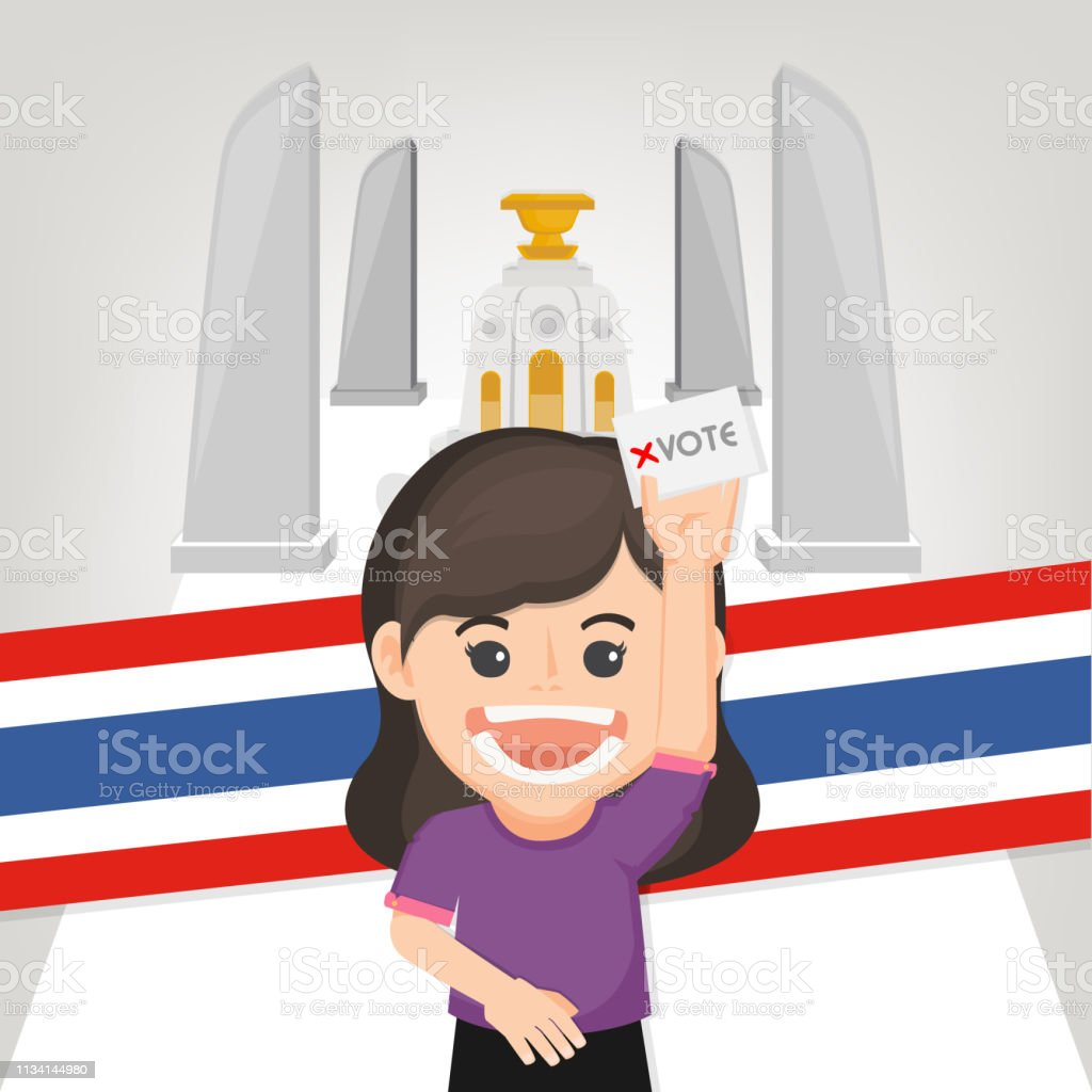 Thai General Election 2019, People voting. Vector illustration - Vector