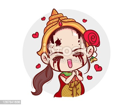 istock Thai ghost in traditional dress show love gesture and red hearts isolated on white background with scary halloween concept. 1267641836