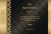Thai gold on black luxury vintage vector abstract background