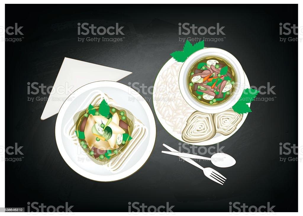 Thai Green Curry on Black Blackboard Background vector art illustration