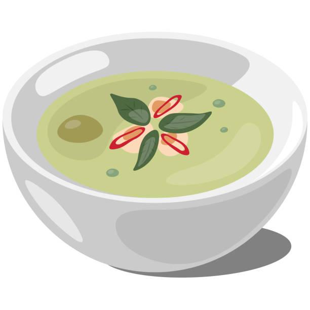 Thai Green Curry vector art illustration