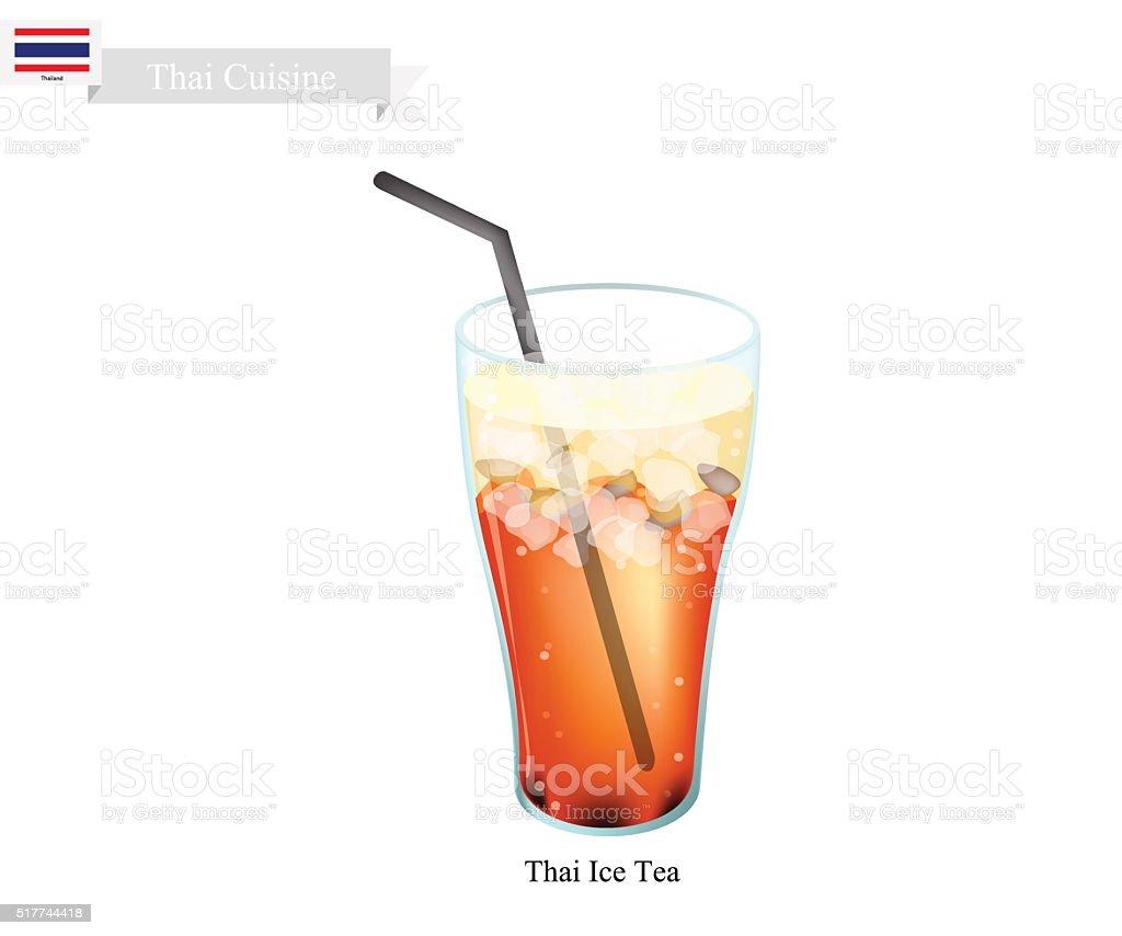 Thai Ice Milk Tea, A Famous Beverage in Thailand vector art illustration