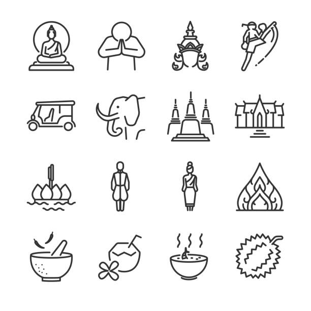 Thai icon set. Included the icons as Thai greeting, temple, boxing, pagoda, Buddha statue, tom yum kung and more. vector art illustration