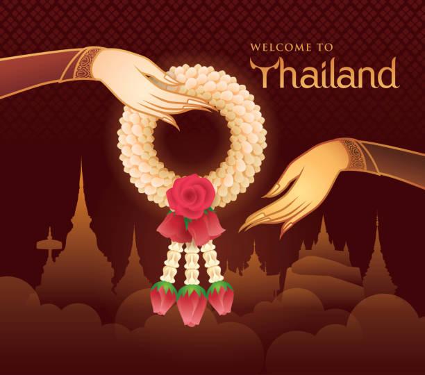 泰國茉莉花和玫瑰花環, 泰國藝術插圖, 金手持有花環向量 - 泰國 幅插畫檔、美工圖案、卡通及圖標