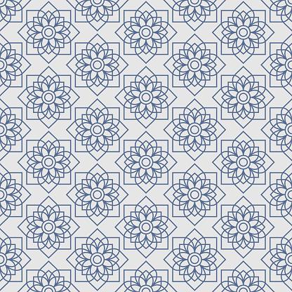 Thai lotus star vintage seamless pattern