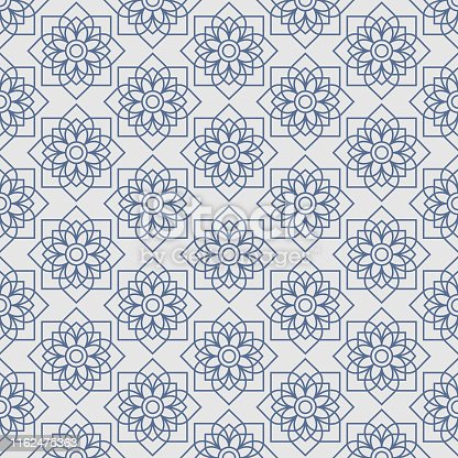 Thai lotus star vintage seamless pattern