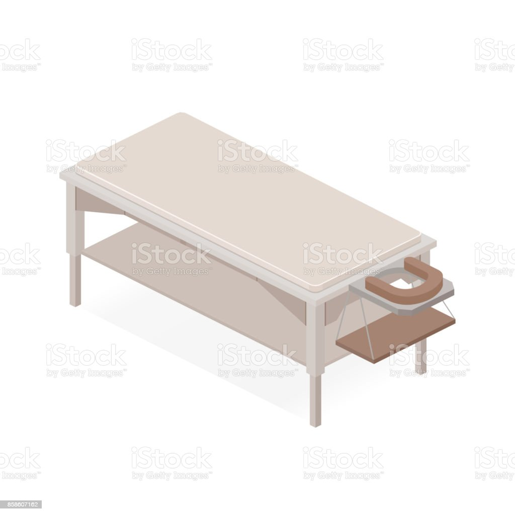 Thai massage table. Alternative medicine. vector art illustration