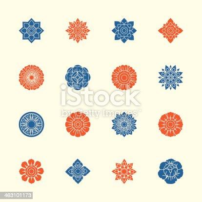 Thai Motifs Flowers Icons Set 1 Color Series Vector EPS10 File.