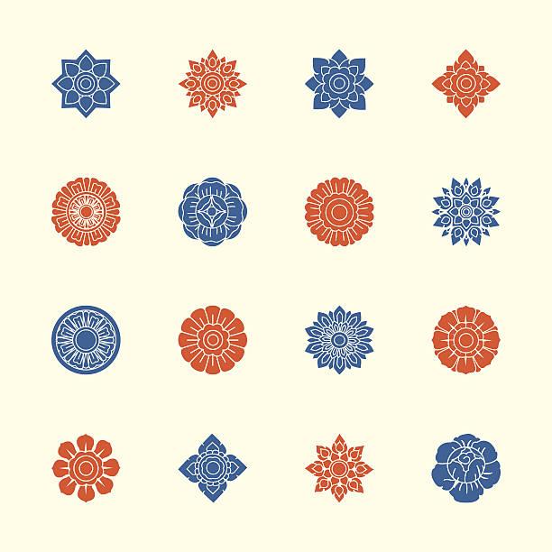 thai motifs flowers icons set 1 - color series - 泰國 幅插畫檔、美工圖案、卡通及圖標