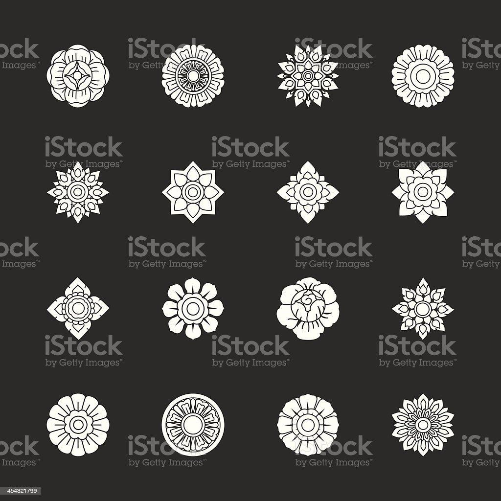 Thai Motifs Flowers Icons Set 1 - White Series vector art illustration