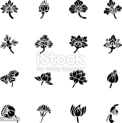 Thai Motifs Flowers Silhouette Vector Icons of Thailand.