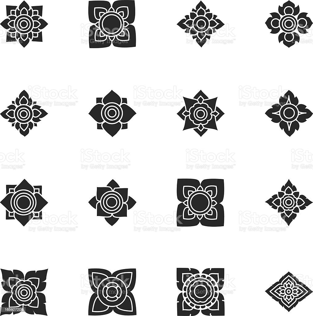 Thai Motifs Flowers Silhouette Icons | Set 3 royalty-free thai motifs flowers silhouette icons set 3 stock vector art & more images of art
