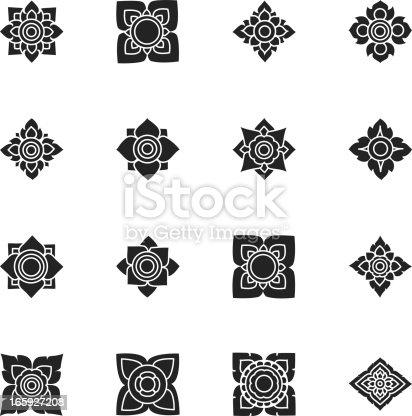 Thai Motifs Flowers Silhouette Vector File Icons Set 3.