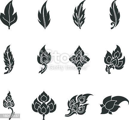 Thai Motifs Leafs Silhouette Vector Icons of Thailnad.
