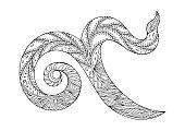 9 thai number symbol hand drawn vector design