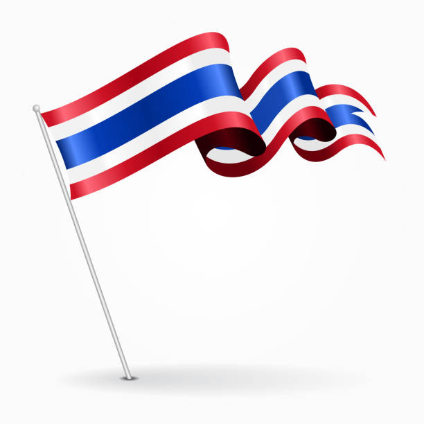 thai pin wavy flag. vector illustration. - thai flag stock illustrations, clip art, cartoons, & icons