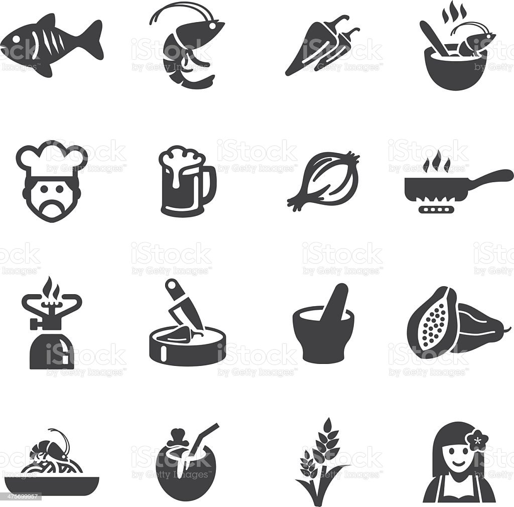 Thai-restaurants Silhouette Icons – Vektorgrafik