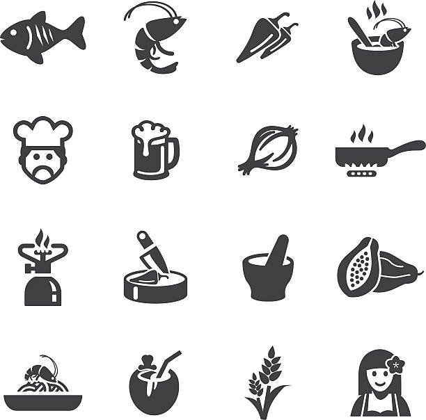 thai restaurants silhouette icons - thai food stock illustrations, clip art, cartoons, & icons