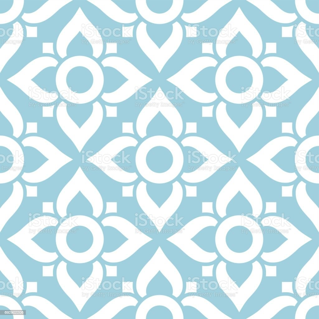 Thai seamless pattern with flowers - tiled design in white on blue background vector art illustration