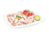 Thai Spicy Shrimp Salad on A Plate